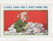 I Still Look For A Note From You Vintage Comic Dog Postcard 140b