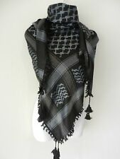Bluish Gray Black Embroided Arab Shemagh Head Scarf Neck Wrap Cottton Unisex