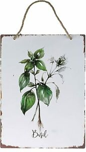 Metal Wall Plaque Basil Picture Wall Art Vintage Style Herbs 38cm