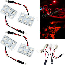 4X Red T10 BA9S Festoon 5050 6 SMD LED Car Interior Dome Trunk Panel Light Bulbs