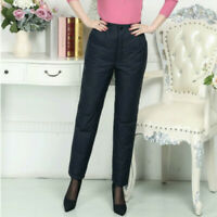 Women Lady Winter Puffer Trousers Duck Down Padded High Waist Warmer Thick Pants