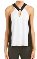 NEW BCBG Max Azria Womens Sofya White & Black Cut-Out  Halter Top Blouse XS
