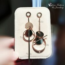 18K Rose Gold Plated Fashion Round Stick Cluster Asymmetric Earrings Jewellery