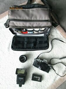 Olympus OM10 35mm SLR Film Camera with 50mm Lens  and Extras