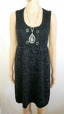 CUE 10 12 S Dress Grey Graphite Knit Wool  Sleeveless Corporate Office Career