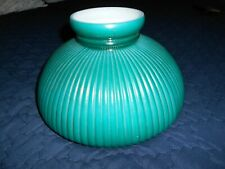 Vintage Green Cased Glass Ribbed Lampshade ( Student Or Oil )