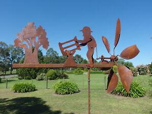 Windmill Lumberjack Rusty Metal Garden Sculpture Statue 180 cm
