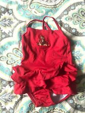 Gymboree Girls Red Monkey Bathing Suit Size 12-18M