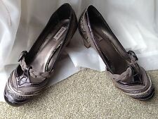Ladies Dune taupe brown pewter leather suede Mary Jane court shoes UK 8 EU 41
