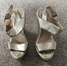 RIVER ISLAND GOLD CHUNKY WEDGES WEDGED SHOES - 7