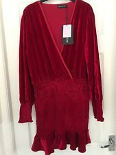 Pretty little Thing  Red Velvet Front Wrap Long Sleeve Mini Dress Size 14