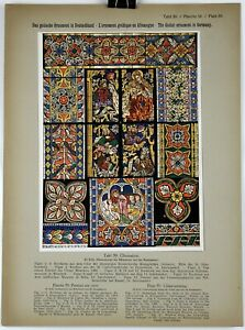 GLASS PAINTING 1914 Historical Ornament Print Middle Ages Print #5