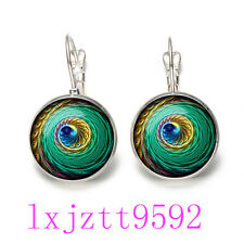 Mandala peacock Glass cabochon(18MM)Lever Back Earrings Silver women Jewelry