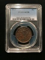 1845 Braided Hair Large Cent PCGS AU58 Luster Looks UNC Penny Variety Newcomb
