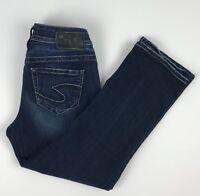Silver Aiko Kick Flare Capri Crop Dark Wash Denim Blue Jeans Women's 25