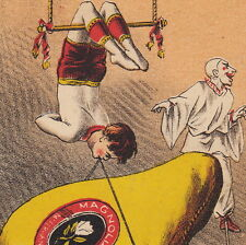 Circus Clown 1870's Trapeze Stilts Magnolia Ham Victorian Advertising Trade Card
