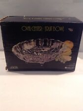 Vintage Oval Footed Fruit Bowl, Clear Indiana Glass, In Box Very Nice Must L@@K