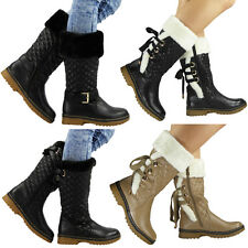 Womens Mid Calf Boots Winter Rain Shoes Comfy Warm Low Heel Faux Fur Sizes New