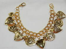 15 Charms Opening Picture Frame Hearts Gold Bracelet / valentine's day Gift
