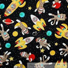 BonEful Fabric Cotton Quilt Black Space Star Red Brown Sock Monkey Rocket SCRAP