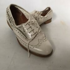 Topshop Loafer Shoes Ivory White Leather Brogues Lace Up Flats Crocheted UK 4