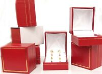 1/2 dozen Red Leatherette Single EARRING Jewelry Box with Gold Trim