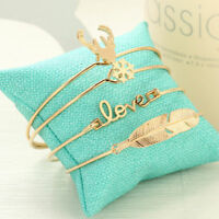 4Pcs Alloy Antler Letters Love Feather Opening Bracelets Women Gold Jewelry