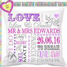 PERSONALISED WEDDING TEXT WORD ART TYPOGRAPHY CUSHION VALENTINES CHRISTMAS GIFT