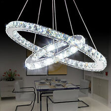 LED Crystal Oval Ring Pendant Light Chandelier Lamp Ceiling Fixture 30cm-50cm UK