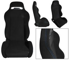 NEW 1 PAIR BLACK CLOTH + BLUE STITCH RACING SEATS ALL FORD *
