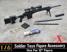 "1:6 X Toys US Army MSR Modular Plastic Sniper Rifle Black USMC For 12"" Figure"