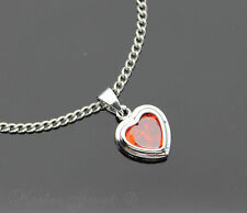 SILVER SP CUBIC ZIRCONIA RED HEART PENDANT NECKLACE STAINLESS STEEL CURB CHAIN