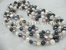 Free shipping 120cm long mixed real freshwater pearl necklace