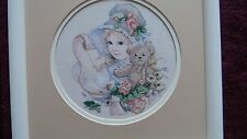 Framed Jan Hagara Colorart Cross Stitch Hannah Victorian Girl 13x13 Jca New