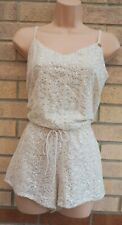 RIVER ISLAND CREAM SEQUIN BEADED STRAPPY BELTED PARTY PLAYSUIT ALL IN ONE XS 6