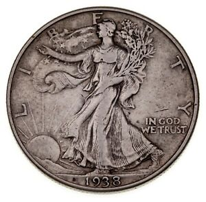 1938-D 50C Walking Liberty Half Dollar XF Condition, Natural Color, Nice Detail