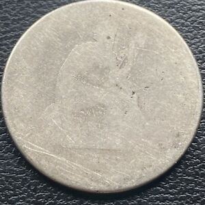 186? S Seated Liberty Quarter looks like 1868 or 1862 25c Circulated #29956
