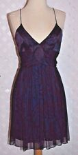 JULIE BROWN BLUE & BROWN Silk PATTERN CHIFFON SPAGHETTI STRAP DRESS New Small