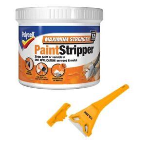 Wood Metal Paint Stripper Varnish Remover Maximum Strength With FREE SCRAPER