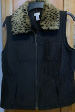 Chico's Removable Faux Leopard Fur Collar Quilted Vest Size 1 (M) Brown Full Zip