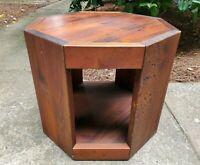 MCM Brown Saltman Octagonal Rough Plank Rustic Brown End Side Table W24inxH21in