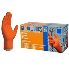 Ammex Gloveworks Orange Nitrile Gloves- Large- 100/ct box- GWON46100