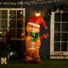 183cm Christmas Inflatable Gingerbread Man & Santa Hat w/ LED Lights