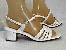 Nos White Vtg 70s Shoe Miss Wonderful Usa Sz 7.5 Strappy Sandal Chunk Block Heel