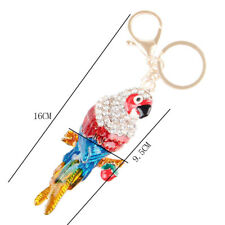 Parrot Bird Crystal Rhinestone Charm Pendant Purse Bag Keyring Chain New Gift