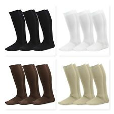 TeeHee Microfiber Compression Knee High Socks with Rib 3-Pack
