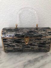 Vintage Majestic Gold Glitter & Black Evening Handbag 1950's