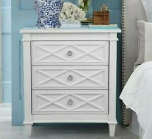Plantation White Satin Finish Timber 3 Drawers Bedside Table with Chrome Handles