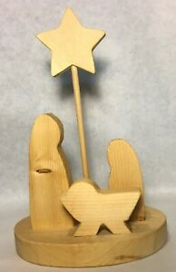 One Piece Wood Nativity Scene with Holy Family