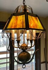 Vintage Tiffany Style Antique Brass Stained Glass Chandelier Ceiling 6 Light